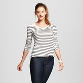 Women's Long Sleeve V-Tee Striped - Mossimo Supply Co. (Juniors')
