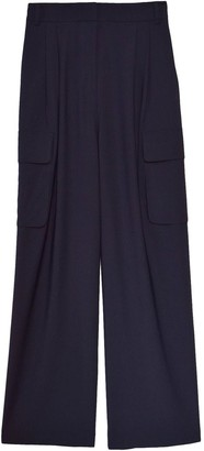 Tibi Tropical Wool Pleated Cargo Pant in Navy