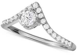 Hearts.Arrows.Together Diamond V-Shape Engagement Ring (1/2 ct. t.w.) in 14k White Gold