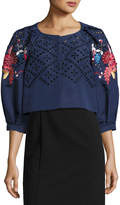 Monique Lhuillier Floral-Embroidered Cropped 3/4-Sleeve Jacket, Navy