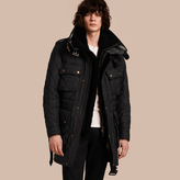 Burberry Oversize Quilted Field Jacket with Detachable Shearling Gilet