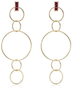 Ileana Makri 18kt Yellow Gold Ruby Embellished Dangling Hoop Earrings