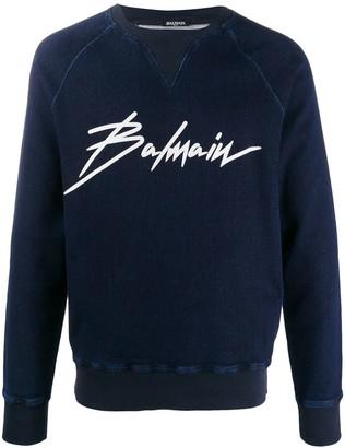Balmain Signature Logo Print Sweatshirt