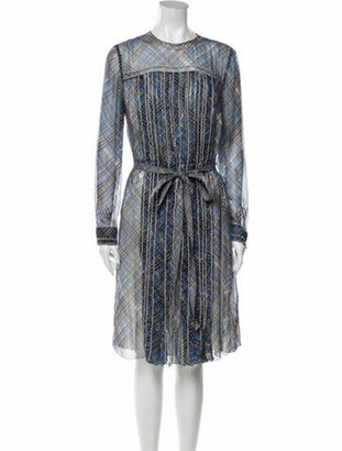 Prada Silk Midi Length Dress Blue