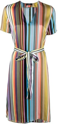 Paul Smith Striped Print Belted Shift Dress