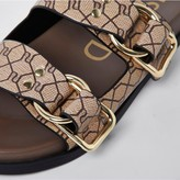 Thumbnail for your product : River Island Double Buckle Monogram Flat Sandal - Beige