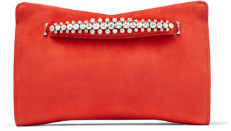 Jimmy Choo VENUS Mandarin-Red Suede Clutch Bag with Crystals