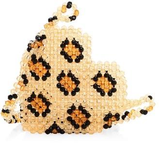 Susan Alexandra Leopard Heart Beaded Crossbody Bag