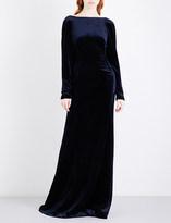 Antonio Berardi Draped-back panel velvet gown