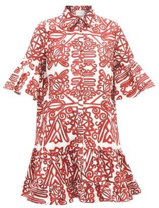 La DoubleJ Choux Ruffled Parnaveg-print Mini Shirt Dress - Red Multi