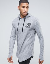 SikSilk Ribbed Hooded Long Sleeve Top