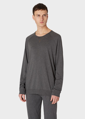 Paul Smith Men's Dark Grey Marl Jersey Cotton Long-Sleeve Top
