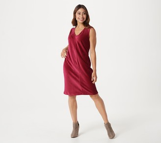 Denim & Co. Knit Corduroy V-Neck Dress with Pockets