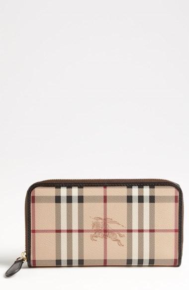 Burberry 'Haymarket Check' Zip Around Wallet