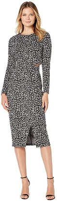 Donna Morgan Two-Piece Leopard Skirt Set (Black/White) Women's Active Sets