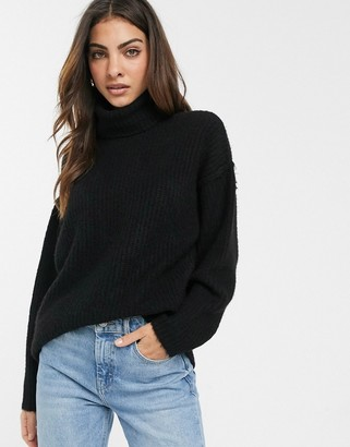 Asos DESIGN fluffy jumper with cowl neck