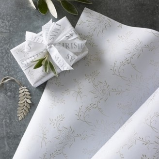 The White Company Champagne Floral Wrapping Paper 5m, White, One Size