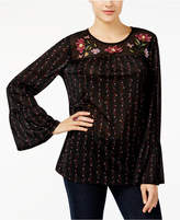 Style&Co. Style & Co Petite Embroidered Mesh Top, Created for Macy's