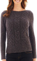 JCPenney St. John's Bay St. Johns Bay Long-Sleeve Boatneck Cable Sweater - Petite