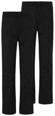 George Boys Black Skinny Leg Adjustable Waist School Trousers 2 Pack