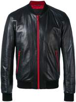 Dolce & Gabbana Leather Bomber Jacket with contrasting zips and lining
