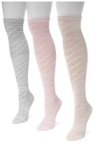 Muk Luks Women's 3 Pair Pack Pointelle Marl Knee High Socks - Multicolor One Size