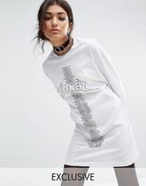 Bones Oversized Long Sleeve T-shirt Dress With Tour Print