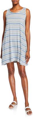 Max Studio Stripe Sleeveless Handkerchief Dress