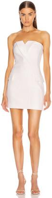 David Koma Tuxedo Tailored Strapless Mini Dress in White | FWRD