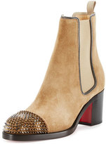 Christian Louboutin Otaboo Spike-Toe 70mm Red Sole Bootie, Camel