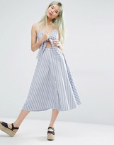 Weekday Tie Front Dress With Button Front Detail