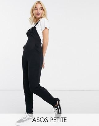 ASOS DESIGN petite jersey dungaree jumpsuit in black