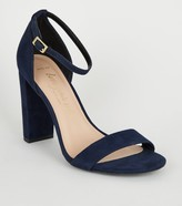 Wide Fit Suedette 2 Part Block Heels