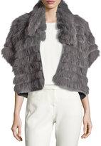 Halston Short-Sleeve Cropped Fur Jacket, Gray
