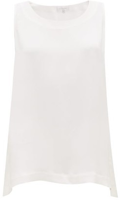 eskandar Sleeveless Silk Top - White