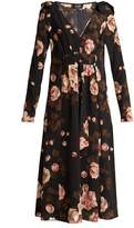 Rochas Rose-print V-neck silk crepe de Chine dress