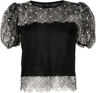 Giambattista Valli Lace-Panelled Knitted Top