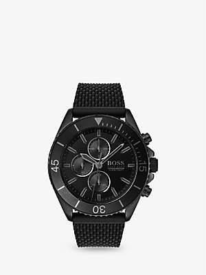 HUGO BOSS 1513699 Men's Ocean Edition Chronograph Silicone Strap Watch, Black
