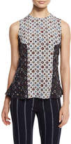 Derek Lam 10 Crosby Sleeveless Floral Silk Shell, Soft White/Multicolor