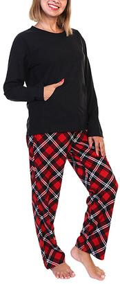 Angelina Women's Sleep Bottoms Black - Black & Red Plaid Kangaroo-Pocket Long-Sleeve Pajama Set - Women