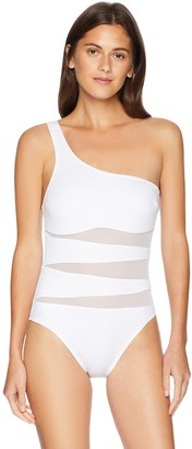 Kenneth Cole New York Women's Shoulder Mesh One Piece Swimsuit