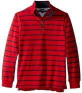 Tommy Hilfiger Stripe 1/2 Zip Sueded Jersey Sweater (Big Kids)