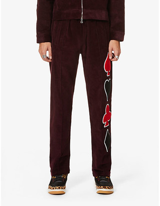 Just Don Dealers graphic-print straight corduroy trousers