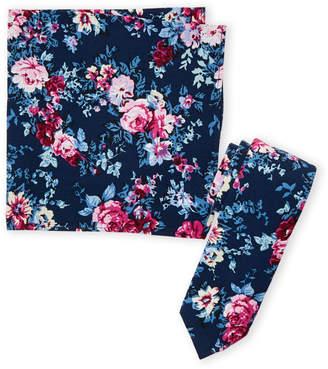 Original Penguin Navy Floral Tie & Pocket Square Set