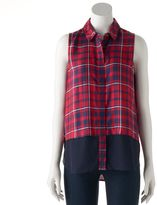 Rock & Republic Women's Plaid Sleeveless Shirt