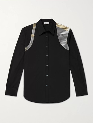 Alexander McQueen Lame-Trimmed Stretch-Cotton Poplin Shirt