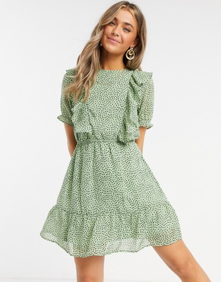 Influence ruffle bib mini dress in mint polka dot