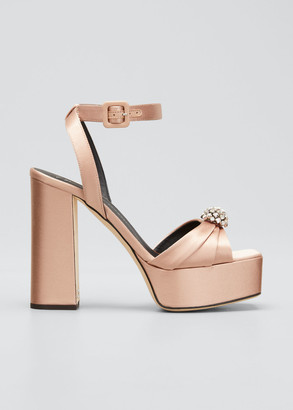 Giuseppe Zanotti 80mm Pleated Satin Crystal Platform Sandals
