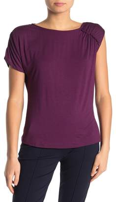 H By Bordeaux Asymmetrical Ruched Short Sleeve T-Shirt