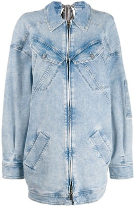 A.F.Vandevorst Zip-Front Printed Denim Dress